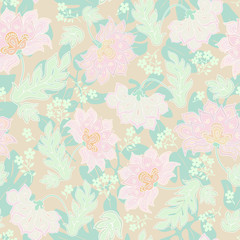 Seamless background with pastel flowers