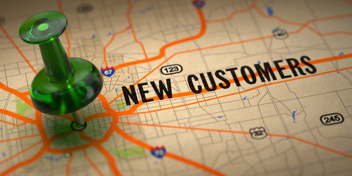 New Customers - Green Pushpin on a Map Background.