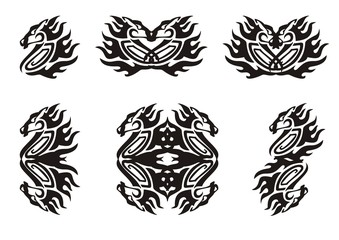 Tribal flaming horse symbols. Black on the white