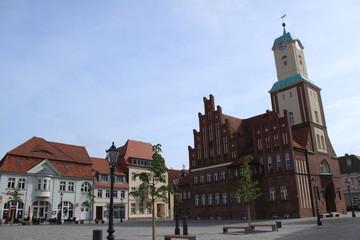 Marktplatz mit Rathaus in Wittstock/Dosse