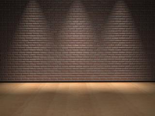 Conceptual brick wall and floor