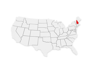 Three-dimensional map of New Hampshire. USA.