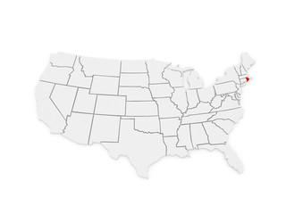 Three-dimensional map of Rhode Island. USA.
