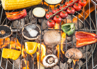 Grilled vegetable on fire