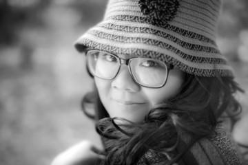 Pretty fat Asian woman eyeglasses look to camera