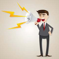 cartoon businessman with megaphone