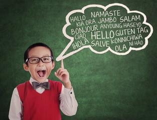 Schoolboy learn universal language