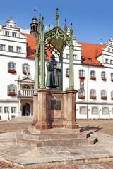 Martin Luther Denkmal vor dem Rathaus in Lutherstadt Wittenberg