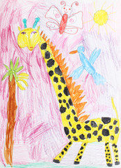 child's drawing of a giraffe