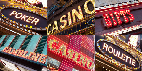 Low angle view of assorted neon signs, Las Vegas, Nevada, USA