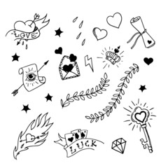 Set of hand drawn elements in tattoo style