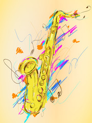 Saxophone Painting Vector Art