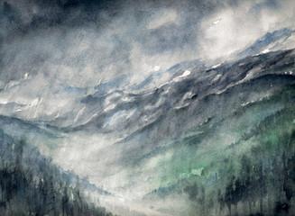 Rain in mountains.Watercolors