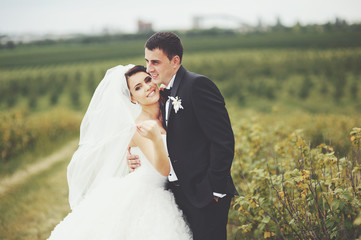 Wedding portrait of a young couple
