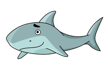 Big smiling swimming shark