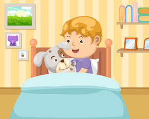 boy with dog in the bedroom