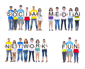 Fotobehang Kinderkamer Multiethnic People Holding the Word Social Media Network Fun