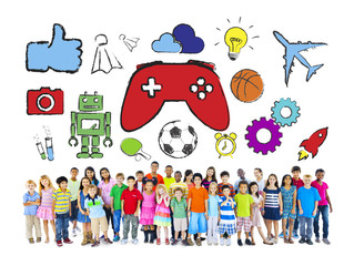 Diverse Group of Children with Hobbies