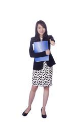 Confident Asian business woman, closeup portrait on white