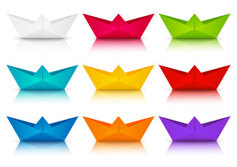 Set of color paper boats