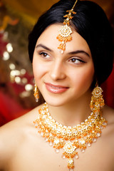 beauty sweet indian girl in sari smiling