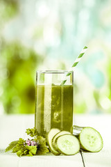 Healthy fresh vegetable juice with cucumbers