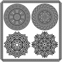Set of decorative elements of the Greek meander. Black and white