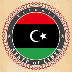 Vintage label cards of Libya flag.