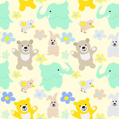 Baby Animals Seamless Background