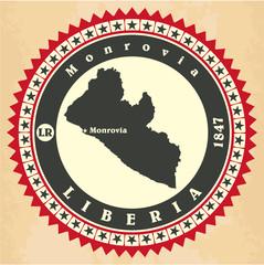 Vintage label-sticker cards of Liberia.