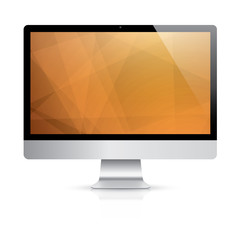 Computer display with modern vector background