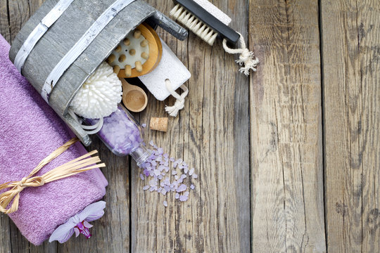 Aromatherapy spa massage tools to body care still life
