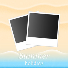 Summer background with beach sand and sea and photos
