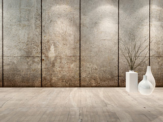 Empty room interior with concret wall