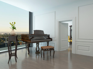Grand piano standing in nice white room
