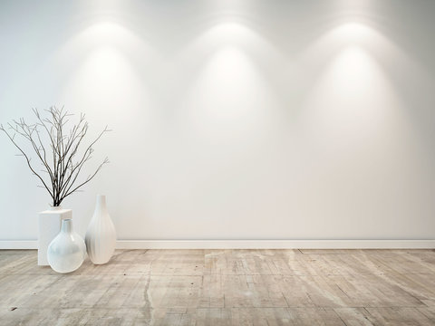 Empty neutral grey room with ornamental vases