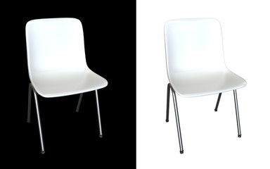 White chair 3d render isolated on black and white background