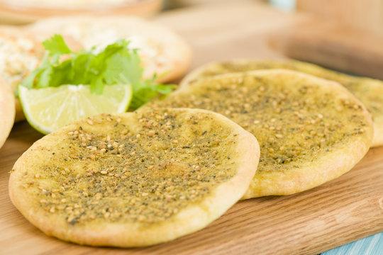 Zaatar & Cheese Manakish - Arabic flatbreads.
