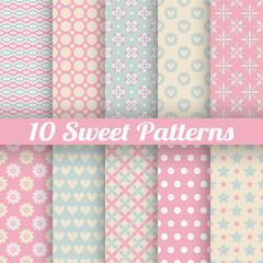 Sweet cute vector seamless patterns (tiling)
