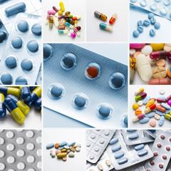 tabletten pillen Kapseln set collage
