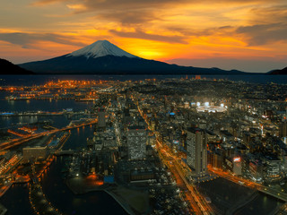 Retouch photo of Yokohama city and Mt. Fuji