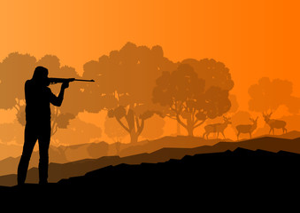 Hunter silhouette background landscape vector concept with fores