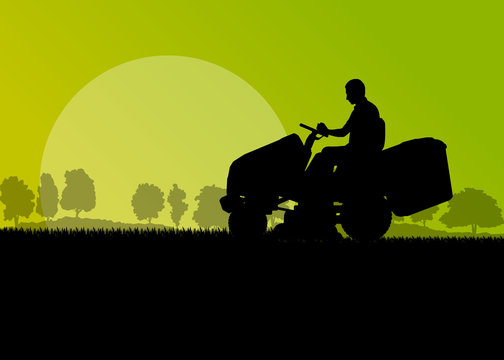 Man with lawn mower tractor cutting grass in field landscape bac