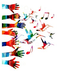 Colorful vector hands background with hummingbirds