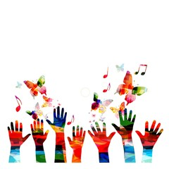 Colorful vector hands background with butterflies