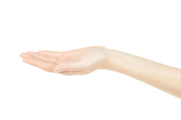 Woman hand open, empty palm up on white, clipping path