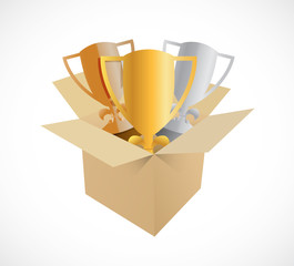 trophy box illustration design