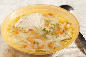 Soup of chicken breasts with vegetables  .
