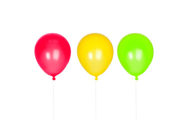 Three colorful floating balloons inflated