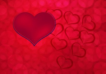 Heart sign on red background